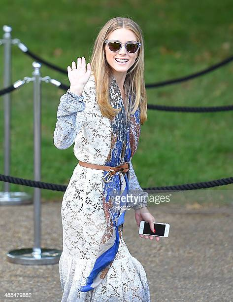Olivia Palermo arrive at Burberry's London Fashion Week catwalk show on September 15 2014 in London England