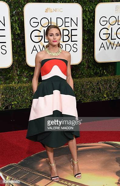 Olivia Palermo arrives for the 73nd annual Golden Globe Awards January 10 at the Beverly Hilton Hotel in Beverly Hills California AFP PHOTO / VALERIE...