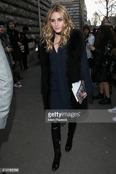 Olivia Palermo arrives to attend the 'Hermes' fashion show on March 7 2016 in Paris France