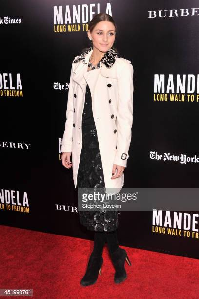 """Olivia Palermo attends a screening of """"Mandela: Long Walk to Freedom"""", hosted by U2, Anna Wintour and Bob & Harvey Weinstein, with Burberry at the..."""