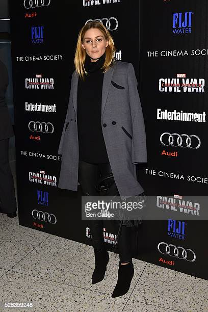 Olivia Palermo attends a screening of Marvel's 'Captain America Civil War' hosted by The Cinema Society with Audi FIJI on May 04 2016 in New York New...