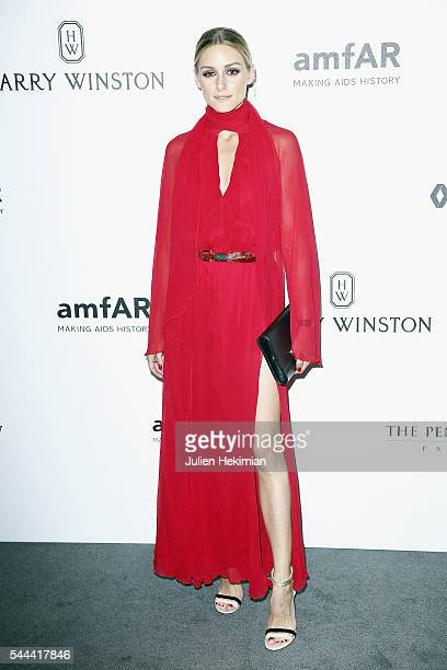 Olivia Palermo attends the Amfar Paris Dinner at The Peninsula Hotel on July 3 2016 in Paris France
