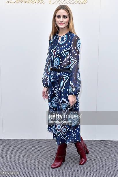 Olivia Palermo attends the Burberry show during London Fashion Week Autumn/Winter 2016/17 at Kensington Gardens on February 22, 2016 in London,...