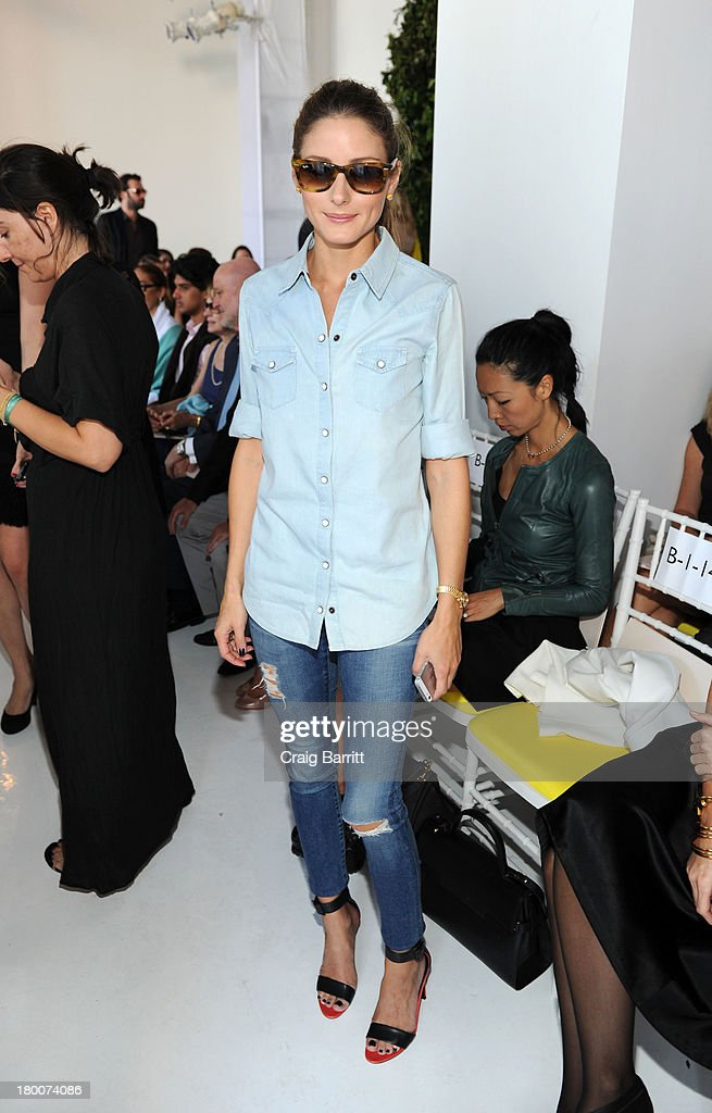 Olivia Palermo attends the Delpozo fashion show during Mercedes-Benz Fashion Week Spring 2014 at Pillars 38 on September 8, 2013 in New York City.