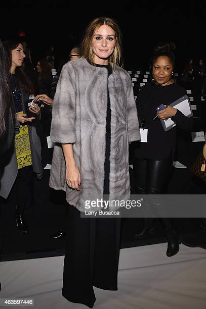 Olivia Palermo attends the Dennis Basso fashion show during MercedesBenz Fashion Week Fall 2015 at The Theatre at Lincoln Center on February 16 2015...