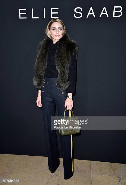 Olivia Palermo attends the Elie Saab Spring Summer 2016 show as part of Paris Fashion Week on January 27 2016 in Paris France
