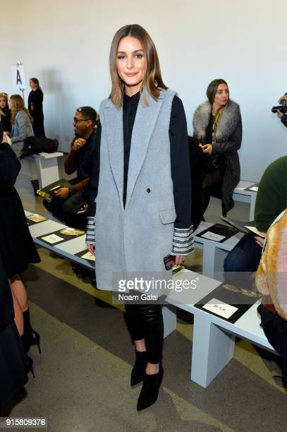 Olivia Palermo attends the front row for Noon by Noor during New York Fashion Week The Shows at Gallery II at Spring Studios on February 8 2018 in...
