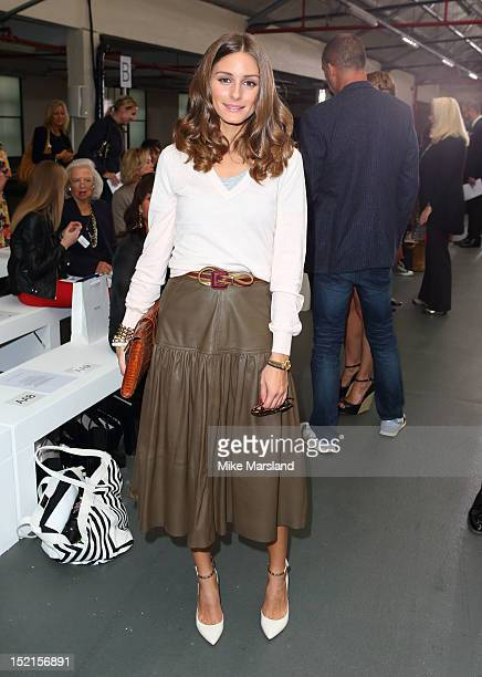 Olivia Palermo attends the front row for the Antonio Berardi show on day 4 of London Fashion Week Spring/Summer 2013 at Brewer Street Car Park on...