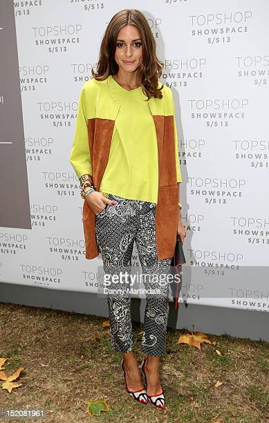 Olivia Palermo attends the front row for the Unique show on day 3 of London Fashion Week Spring/Summer 2013 at The Topshop Venue on September 16 2012...