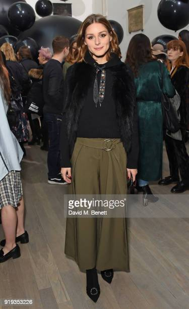 Olivia Palermo attends the Markus Lupfer show during London Fashion Week February 2018 at The Swiss Church on February 17 2018 in London England