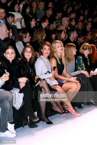 Olivia Palermo Carine Roitfeld Jessica Alba Kelly Sawyer guezst and Anna Wintour attend the Nina Ricci show as part of the Paris Fashion Week...