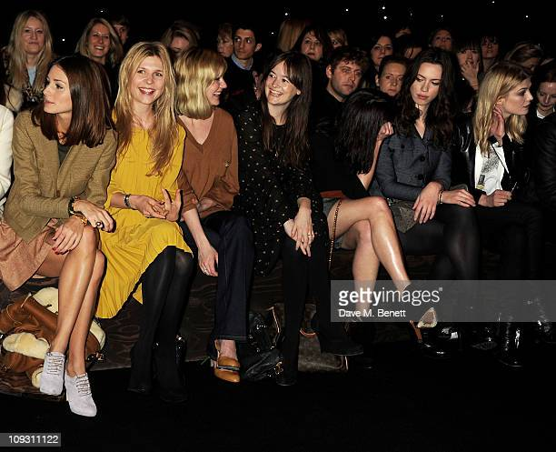 Olivia Palermo Clemence Posey Kirsten Dunst Leith Clark Gemma Arterton Rebecca Hall and Rosamund Pike sit in the front row at the Mulberry Salon Show...
