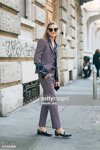 Olivia Palermo exits the MSGM show during Milan Fashion Week Spring/Summer 2017 on September 25 2016 in Milan Italy