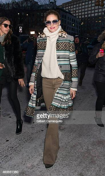 Olivia Palermo is seen arriving at Diane Von Furstenberg fashion show during MercedesBenz Fashion Week Fall 2015 at Spring Studioson February 15 2015...