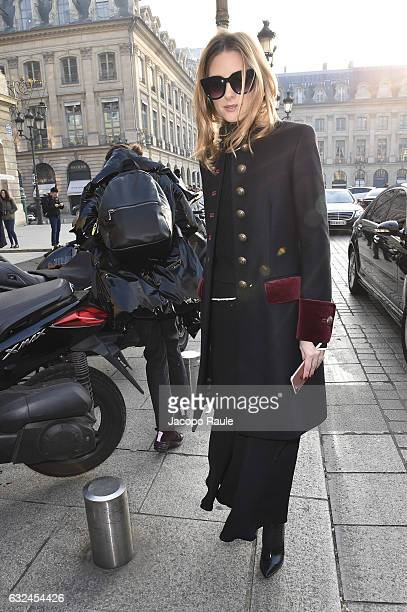 Olivia Palermo is seen arriving at Schiaparelli Fashion show during Paris Fashion Week Haute Couture F/W 20172018 on January 23 2017 in Paris France