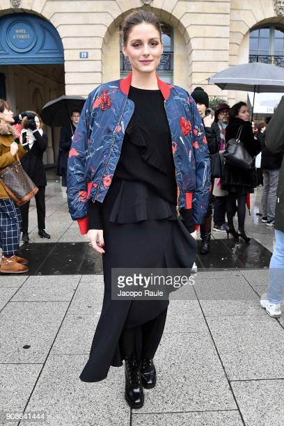 Olivia Palermo is seen arriving at Schiaparelli Fashion show during Paris Fashion Week Haute Couture Spring/Summer 2018 on January 22 2018 in Paris...
