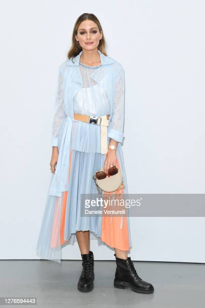 Olivia Palermo is seen arriving at the Sportmax fashion show during the Milan Women's Fashion Week on September 25, 2020 in Milan, Italy.