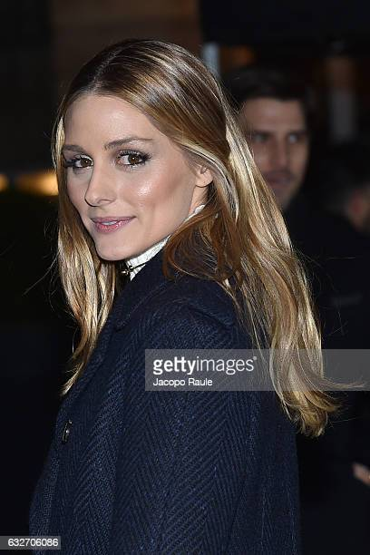Olivia Palermo is seen arriving at Valentino Fashion Show during Paris Fashion Week Haute Couture Spring Summer 2017 on January 25 2017 in Paris...
