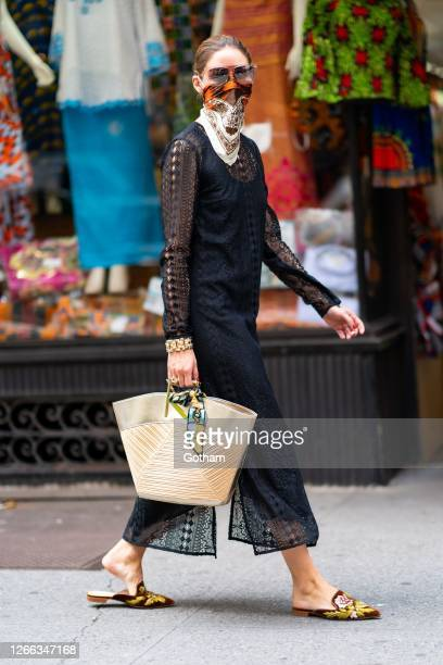 Olivia Palermo is seen in Midtown on August 14, 2020 in New York City.