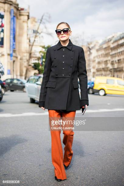 Olivia Palermo is seen in the streets of Paris before the Miu Miu show during Paris Fashion Week Womenswear Fall/Winter 2017/2018 on March 7, 2017 in...