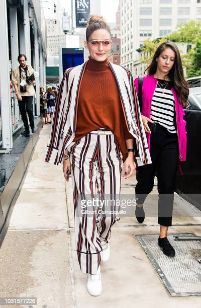 Olivia Palermo is seen leaving the Sally LaPointe SS19 fashion show during New York Fashion Week at Gallery I at Spring Studios on September 11 2018...