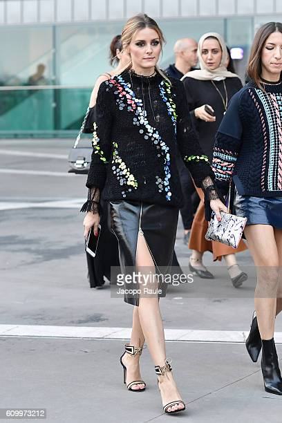 Olivia Palermo is seen leaving the Versace show during Milan Fashion Week Spring/Summer 2017 on September 23 2016 in Milan Italy