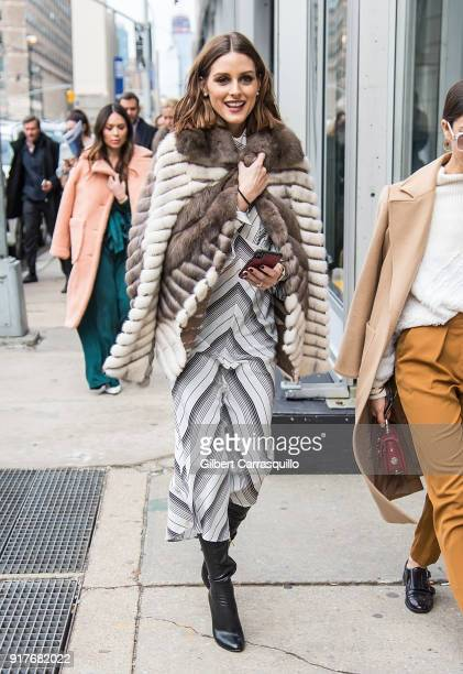 Olivia Palermo is seen leaving the Zimmermann fashion show during New York Fashion Week at Spring Studios on February 12 2018 in New York City