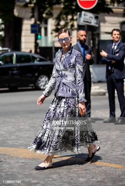 Olivia Palermo is seen outside Dior during Paris Fashion Week Haute Couture Fall/Winter 2019/2020 on July 01 2019 in Paris France