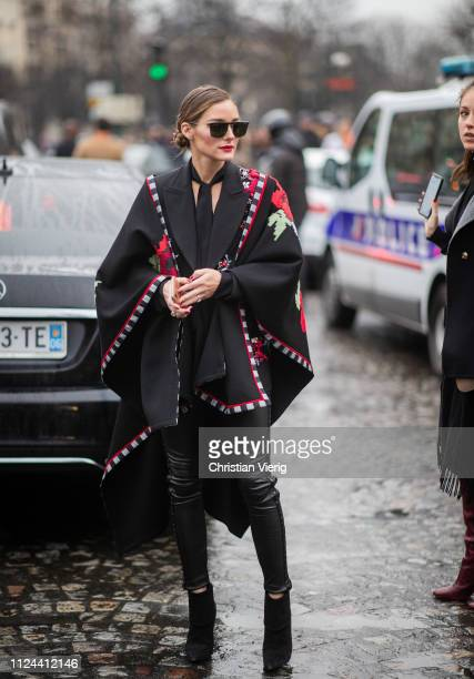 Olivia Palermo is seen outside Elie Saab wearing cape with floral print during Paris Fashion Week - Haute Couture Spring Summer 2019 on January 23,...