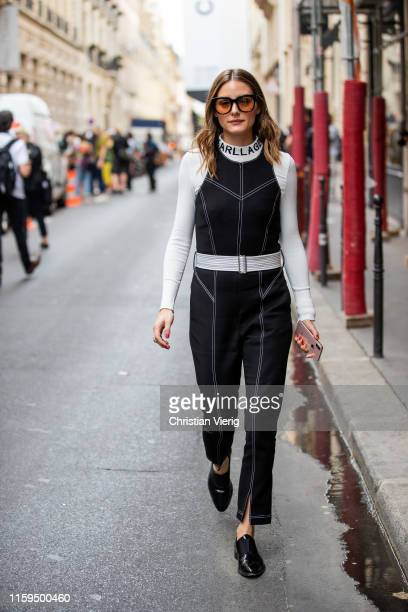 Olivia Palermo is seen outside Schiaparelli during Paris Fashion Week Haute Couture Fall/Winter 2019/2020 on July 01 2019 in Paris France