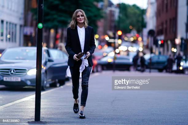 Olivia Palermo is seen outside the Burberry show during London Fashion Week September 2017 on September 16 2017 in London England