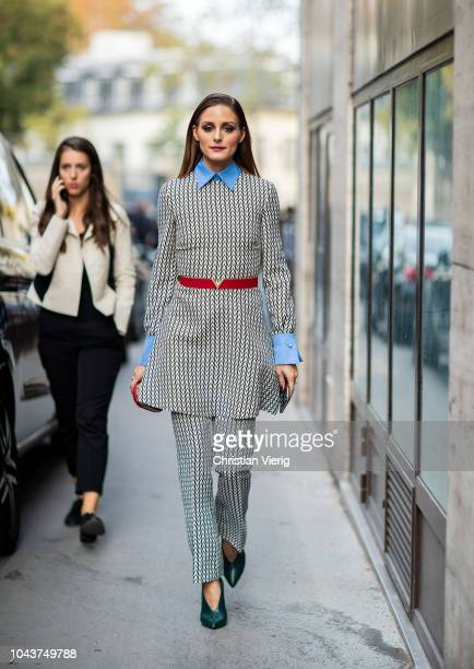 Olivia Palermo is seen outside Valentino seen during Paris Fashion Week Womenswear Spring/Summer 2019 on September 30, 2018 in Paris, France.