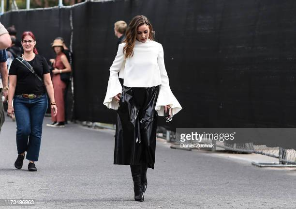 Olivia Palermo is seen wearing a Carolina Herrera dress outside the Carolina Herrera show during New York Fashion Week S/S20 on September 09 2019 in...