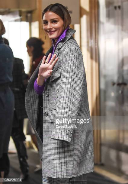 Olivia Palermo is seen wearing a checkered coat outside the Tibi show during New York Fashion Week Women's S/S 2019 on September 9 2018 in New York...