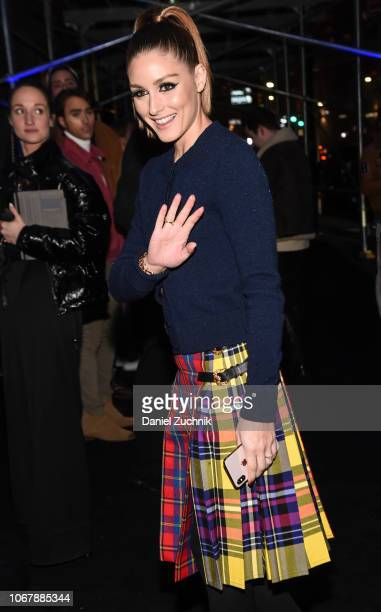 Olivia Palermo is seen wearing a Versace skirt outside the Versace PreFall 2019 Collection on December 2 2018 in New York City