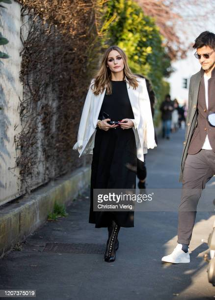 Olivia Palermo is seen wearing black dress, white blazer outside Alberta Ferretti during Milan Fashion Week Fall/Winter 2020-2021 on February 19,...