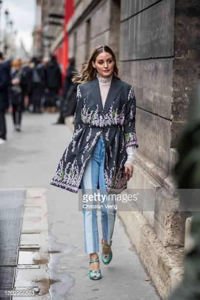 Olivia Palermo is seen wearing denim two tone jeans, jacket with print outside Giambattista Valli during Paris Fashion Week - Womenswear Fall/Winter...