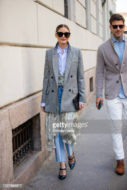 Olivia Palermo is seen wearing grey blazer, button shirt, two tone pants and Johannes Huebl outside Etro during Milan Fashion Week Fall/Winter...