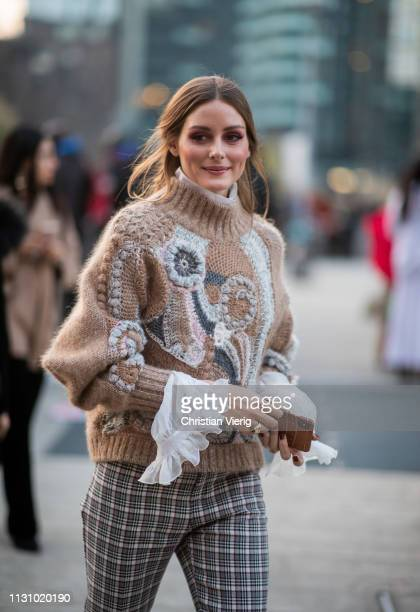 Olivia Palermo is seen wearing plaid pants, beige knit outside Alberta Ferretti on Day 1 Milan Fashion Week Autumn/Winter 2019/20 on February 20,...