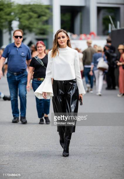 Olivia Palermo is seen wearing white top black skirt outside Carolina Herrera during New York Fashion Week September 2019 on September 09 2019 in New...