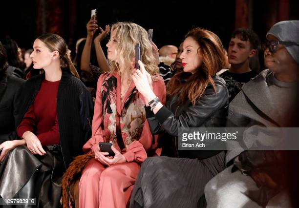 Olivia Palermo Jennifer Nettles and J Alexander attend the Dennis Basso front row during New York Fashion Week The Shows at Cipriani 42nd Street on...