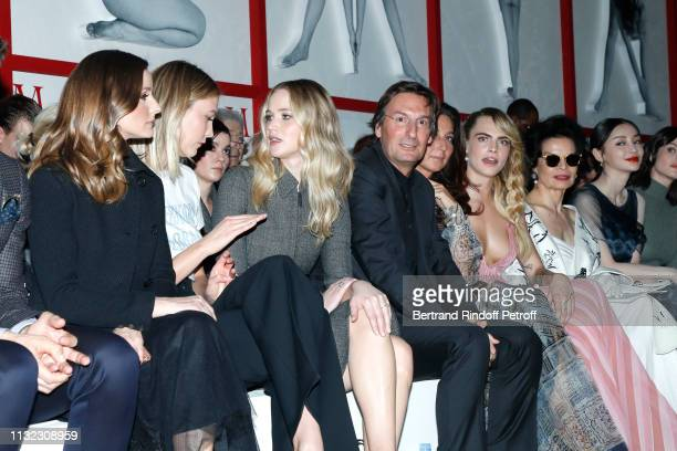 Olivia Palermo Karlie Kloss Jennifer Lawrence CEO of Dior Pietro Beccari his wife Elisabetta Beccari Cara Delevingne Bianca Jagger Angelababy attend...