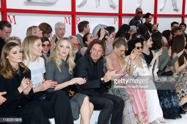 Olivia Palermo Karlie Kloss Jennifer Lawrence CEO of Dior Pietro Beccari his wife Elisabetta Beccari Cara Delevingne Bianca Jagger and Angelababy...