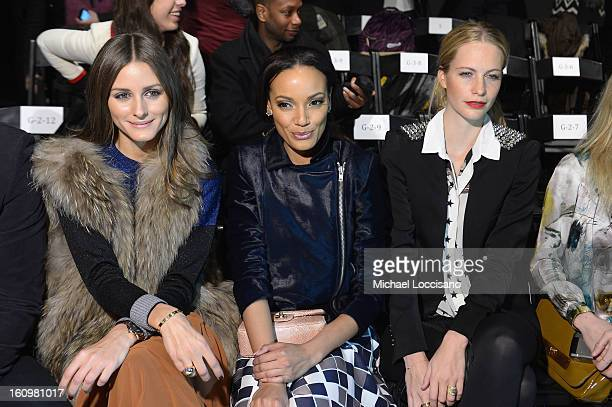 Olivia Palermo Model Selita Ebanks and Model Poppy Delevingne attend the Noon By Noor Fall 2013 fashion show during MercedesBenz Fashion at The...