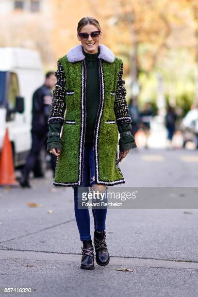 Olivia Palermo outside Moncler during Paris Fashion Week Womenswear Spring/Summer 2018 on October 3 2017 in Paris France