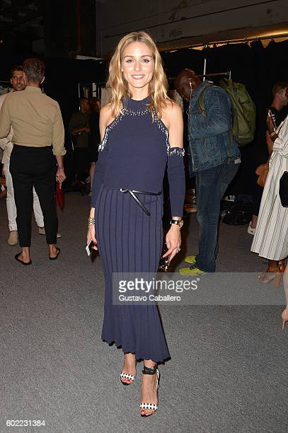 Olivia Palermo poses backstage at the Jonathan Simkhai fashion show during New York Fashion Week The Shows at The Arc Skylight at Moynihan Station on...