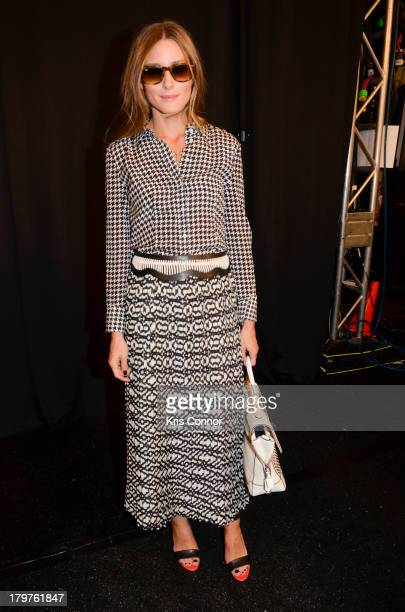 Olivia Palermo poses for a photo backstage during the Rebecca Minkoff Spring 2014 fashion show at The Theater at Lincoln Center on September 6, 2013...