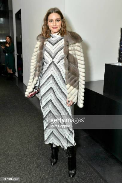 Olivia Palermo poses for a photo in the lobby during IMG NYFW The Shows at Spring Studios on February 12 2018 in New York City