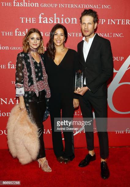Olivia Palermo Rebecca Minkoff and Uri Minkoff attend the 2017 FGI Night Of Stars Modern Voices gala at Cipriani Wall Street on October 26 2017 in...