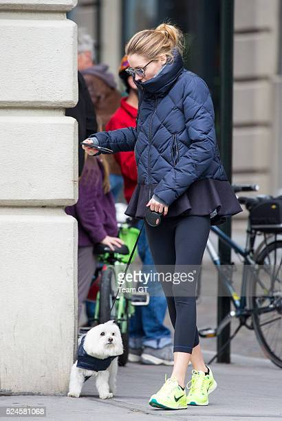 Olivia Palermo seen walking her dog on April 26 2016 in New York City